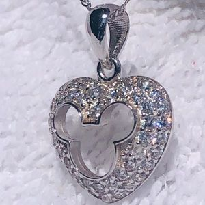 925 Mickey Mouse w/ Swarovski Crystals Necklace
